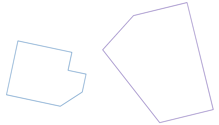 Figure 1: Polygon Containment: Plan (Q) left; Lot (P) right